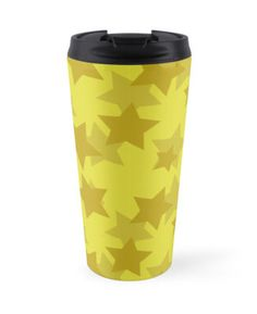 Yellow & Gold Stars Travel Mug by #MoonDreamsMusic #TravelMug #YellowAndGoldStars