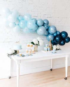 We're feeling the blues when designing baby showers this fall! 💙 Our ombré b… We're feeling the blues when designing baby showers this fall! 💙 Our ombré balloon arch adds a elegant touch your celebration. Baby Shower Brunch, Deco Baby Shower, Fiesta Baby Shower, Baby Shower Fall, Baby Boy Shower, Fall Baby, Boy Baby Showers, Baby Shower Decorations For Boys, Boy Baby Shower Themes