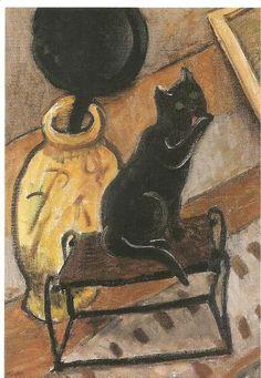 "Gabriele Münter - ""Still life with black cat"" Oil on board."