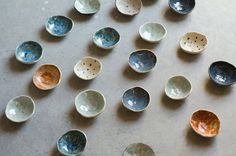 Ring dish three pinch bowl pinch bowl tiny by OritCreativeWorkshop - these are ceramic but air-dried bowls would look lovely in these colours too