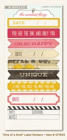 My Mind's Eye - The Sweetest Thing Collection - Honey - Cardstock Stickers - One of a Kind Label