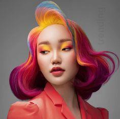 Portrait Inspiration, Hair Inspiration, Hair Reference, Aesthetic Hair, Face Hair, Rainbow Hair, Hair Art, Bob Hairstyles, Black Hairstyles