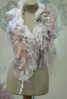Winter romantic scarflette, collar or boa, shabby chic, from nuno felted silks, antique lace, soft tulle, hand embroidered details