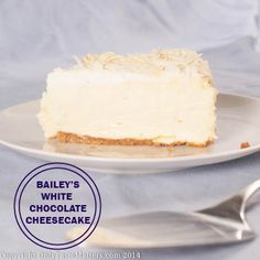Bailey's White Chocolate Cheesecake with Almond Brown Sugar Crust - make with lowfat sour cream for a little less guilt.