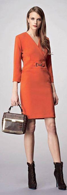 Anna Rachele F/W 2015-2016 I Love Fashion, Fashion Show, Fashion Looks, Womens Fashion, Orange Crush, Orange Is The New Black, Working Woman, Business Fashion, Peplum Dress
