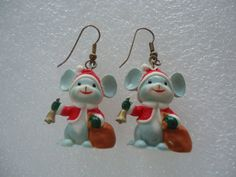 Handmade Plastic Christmas Mice Earrings by GrannysInspirations