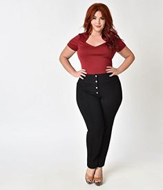 bb71d5db545 Unique Vintage Plus Size 1960s Style Black High Waist Sawtelle Cigarette  Pants