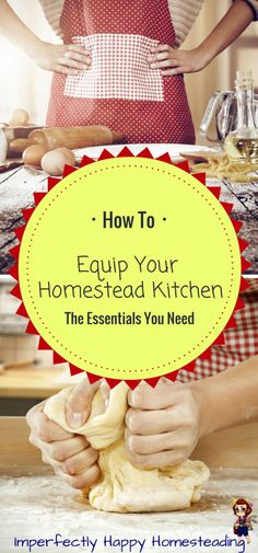How to equip your homestead kitchen for every homesteader, backyard farm and prepper. It is more than cast iron skillets! Homestead Farm, Homestead Living, Homestead Survival, Survival Tips, Survival Skills, Survival Food, Wilderness Survival, Living Off The Land, Mini Farm