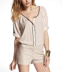 SHORT ROLLED SLEEVE BLOUSE WITH PIPING at Express