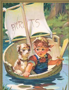 Boy Dog River Pirates sword boat Lithograph print fine Art Vintage 1940 s Images Vintage, Art Vintage, Vintage Pictures, Vintage Cards, Vintage Prints, Vintage Calendar, Art Calendar, Art And Illustration, Boy Dog