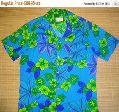 ON SALE Mens Vintage 60s Neon Aloha Hawaiian Floral Shirt  L