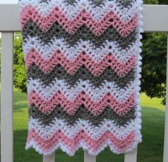 baby girl, chevron, ripple, baby, crochet blanket, afghan crochet, crocheted blanket, crocheted afghan, pink, grey &white