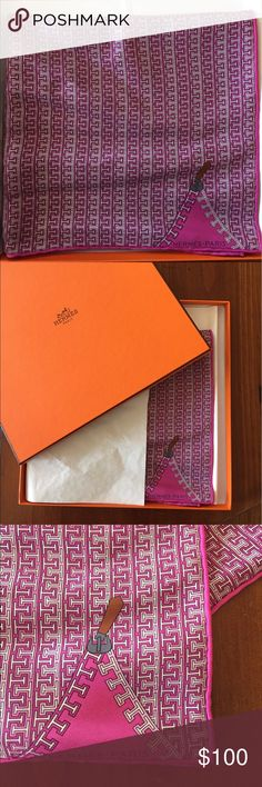 Hermes pink silk scarf- in the box! Gorgeous pink patterned silk scarf in the box, never worn. In perfect condition. Hermes Accessories Scarves & Wraps