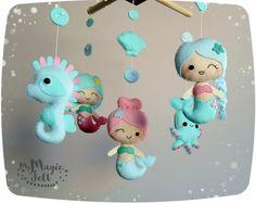 Baby mobile Meerjungfrauen Krippe mobile Meerjungfrauen Kindergarten mobile unter Meer Baby Mädchen mobile Meerjungfrau Baby mobile Seepferdchen Baby Shower Geschenk