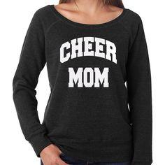 Cheer Mom Off the Shoulder Sweatshirt Sports Mom Jersey Cheerleading ($33) ❤ liked on Polyvore featuring tops, hoodies, sweatshirts, black, women's clothing, black sweatshirt, wide neck sweatshirt, sports sweatshirts, black off shoulder top and black off the shoulder sweatshirt