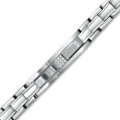 Stainless bracelet diamond square accent