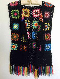 Chaleco sin mangas Grany Square colores Crochet por fyboutique
