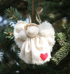 Muslin angel pin or ornament. There are some glass ball ornament ideas, also.