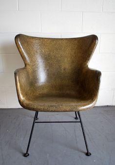Mid-Century Modern Lawrence Peabody Wingback Fiberglass Shell Chair