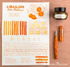 A sneak peek at the soon-to-be-reissued Sailor Kin-Mokusei. Can it compete with to the coveted Apricot? Check out the comparison and see what you thINK! Anderson Pens, Calligraphy Ink, Best Pens, Fountain Pen Ink, Penmanship, Pen And Paper, Letter Writing, Writing Instruments, Ink Painting