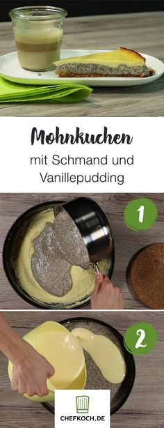 Mohnkuchen mit Schmand und Vanillepudding Poppy seed cake with sour cream and vanilla pudding Poppy Seed Cake, Sour Cream Cake, Sweet Bakery, Bakery Cakes, Midnight Snacks, Cookie Decorating, Food Videos, Great Recipes, Cake Recipes
