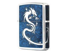 Zippo Mirror Dragon BLUE / Rare Model from JAPAN !