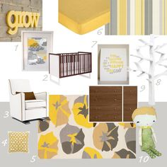 Yellow and gray with brown. I WANT EXACTLY THE SAME THING FOR MY LITTLE BABY BOY. PLUS I'M A BIG FAN OF LE PETIT PRINCE!!!