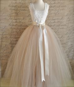 Full length champagne tulle skirt. Champagne by TutusChicBoutique, $375.00