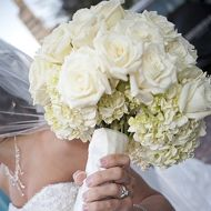Vintage wedding bouquet of white hydrangea and roses