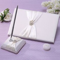 Chic Wedding Guest Book And Pen Set In Ivory Satin With Sash And Rhinestones Sign In Book – USD $ 19.99