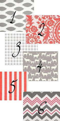 Coral fabric, grey fabric, all different patterns!