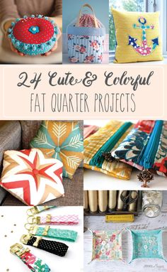 Sewing crafts Fat Quarters - 24 Cute and Colorful Fat Quarter Projects Easy Sewing Projects, Sewing Projects For Beginners, Sewing Hacks, Sewing Crafts, Craft Projects, Sewing Tips, Sewing Tutorials, Sharpie Projects, Yarn Crafts