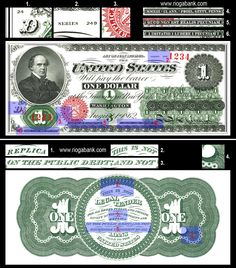 1 US Dollar 1862 REPLICA Paper Money, with consecutive Serial Number, American Civil War Era, Reenactment, Play Money, www.riogabank.com
