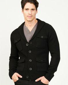 Wool Blend Shawl Collar Sweater