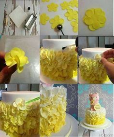 Frilly flower ruffled petal cake decorating tutorial