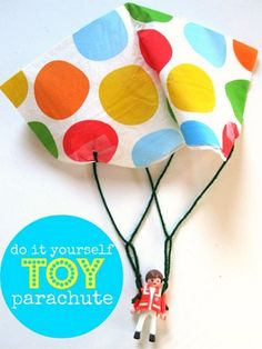 """A paper napkin and some string is all you need to turn a figurine into a mini paratrooper. Plus, it's kid-approved: This blogger's son called the toy """"the best craft ever."""" Get the tutorial at No Time for Flashcards »  - GoodHousekeeping.com"""