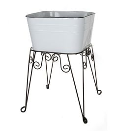White Metal Wash Tub on Stand-15 x 23 inchesWhite Metal Wash Tub on Stand-15 x 23 inches,