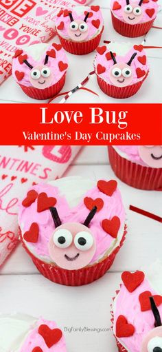 Love Bug Cupcakes - Love Bug Cupcakes – adorable Ladybug cupcakes perfect for Valentine's Day! Valentines Baking, Valentine Day Cupcakes, Valentines Day Desserts, Valentine Treats, Valentines Day Party, Valentine Day Crafts, Holiday Cupcakes, Walmart Valentines, Valentine Recipes