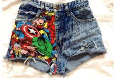 High Waisted Shorts Marvel Super Hero Studs American Apparel Indie Fashion Hipster Frayed. Shorts. Style. Fashion. Hippie. Grunge