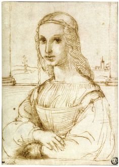 """Pen and Ink Sketch of a """"Younf Woman on a Balcony"""" by Raphael, c. 1504 Florence"""