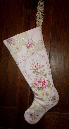 Shabby Pink Rose Barkcloth Vintage Lace Crazy Quilt Christmas Stocking Large. $59.99, via Etsy.