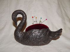 ANTIQUE VICTORIAN VERY LARGE NOVELTY METAL SWAN PIN CUSHION ~ c1900 ~ SEWING   | eBay