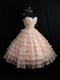 Vintage 1950's 50s STRAPLESS Bombshell Cupcake Frothy Pink Chiiffon Organza Satin Ribbon Party Prom WEDDING Dress Gown