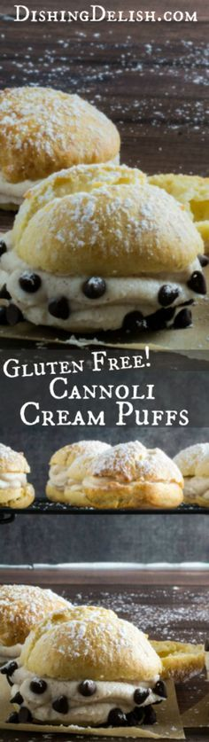 Repin! These cream puffs are sweet, tender, stuffed with an irresistible cannoli cream filling and topped with just a sprinkle of powdered sugar. Enjoy this traditional French pastry with an Italian twist, or fill it with whatever sweet treat you're craving. You won't believe how deceptively easy they are to make, and your guests won't be able to tell they're gluten free!