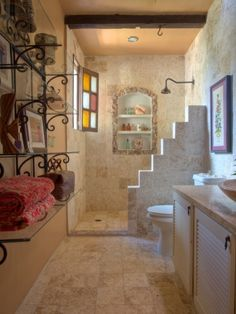 small spanish style homes photos Best Picture For Spanish style bathrooms For Your Taste You are looking for something, and it is going to tell you exa Spanish Bathroom, Spanish Style Bathrooms, Spanish Style Homes, Spanish House, Mexican Style Homes, Hacienda Style Homes, Hacienda Kitchen, Mexican Home Decor, Mexico House