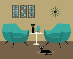 "The boys! ""Room with Dark Aqua Chairs"" by Donna Mibus: From the Mid Century Modern Room Series"""" Mid Century Modern Art, Mid Century Art, Framed Wall Art, Wall Art Prints, Canvas Prints, Buy Prints, Aqua Chair, Black Cat Art, Black Cats"