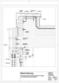 B-05-0012 Schnitt einer Holz-Alu-Fensterkonstruktion an Attika und hinterlüfteter Natusteinfassade