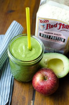 Power up with the Green Machine: Blend: ¼ cup whey protein powder, 2 Tbsp oat bran, 1 cup packed spinach, ½ an avocado, 1 cup chopped apple, 1 cup apple juice