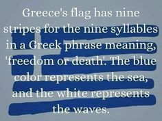 This is one of our pins highlighting country/civilization: it shows the Greek flag and the meaning behind it.