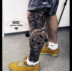 The 85 Best Leg Tattoos for Men Improb, The 85 Best Leg Tattoos For Men Improb. The 85 Best Leg Tattoos For Men Improb. Colorful Sleeve Tattoos, Skull Sleeve Tattoos, Leg Tattoo Men, Calf Tattoo, Best Sleeve Tattoos, Lion Tattoo, Trendy Tattoos, Tattoos For Guys, Cool Tattoos